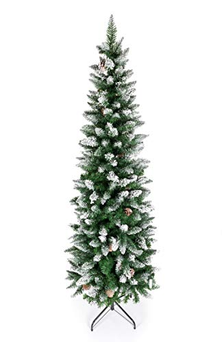 Artificial Pencil Christmas Tree,Snow Flocked Trees with Pine Cone Decoration Unlit 5-7.5 FT (Christmas Trees Flocked)