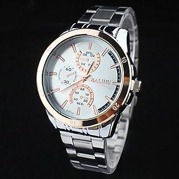 fenkoo Hombre Mode Reloj Quartz Acero Inoxidable Banda Reloj de pulsera plata, negro: Amazon.es: Deportes y aire libre