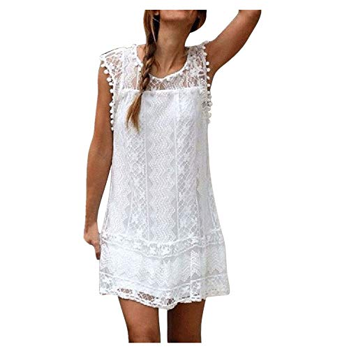Cenglings Women Mini Dress, Casual Lace Sleeveless Beach Short Sundress Tassel Prom Party Shift Dress White