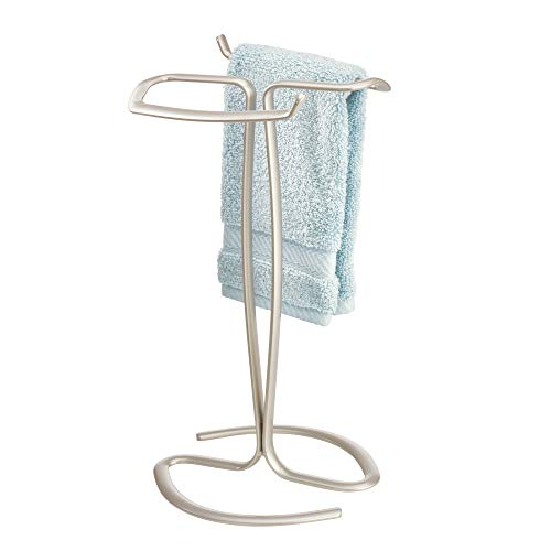 iDesign Axis Metal Hand Towel Holder for Master Bathroom, Vanities, Countertops, Kitchen, Holds 2 Finger Tip Towels, Satin