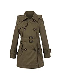 Richie House Girls' Classic Hooded Trenchcoat Sizes 4-12Y RH0934