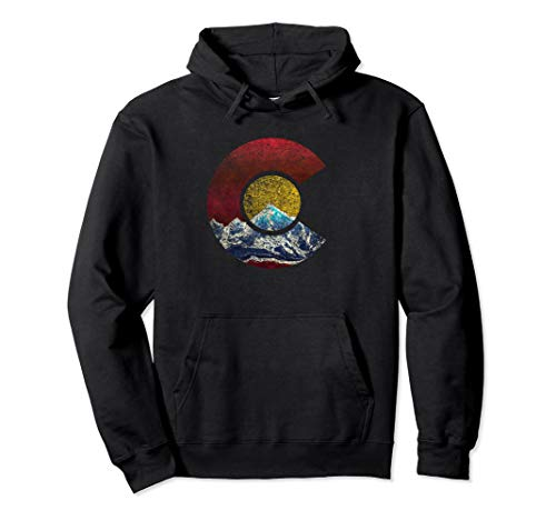 Colorado Hoodie with Flag Inspired Mountain Scene (Hoodie Colorado)