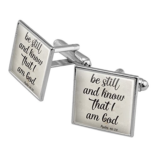 Be Still and Know that I am God Psalm Inspirational Christian Square Cufflink Set Silver Color