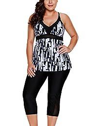 SheShy Womens Floral Printed Tankini Swimsuits With Swim Capris S - XXXL