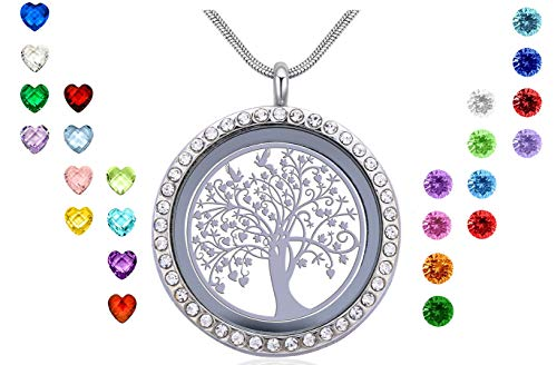 Xingzou Famliy Tree of Life Charms Memory Floating Locket Necklace, DIY Pendant with 24 Birthstones for Mummy Mom Mother Grandma Nana Aunt Niece Sister Women Girls