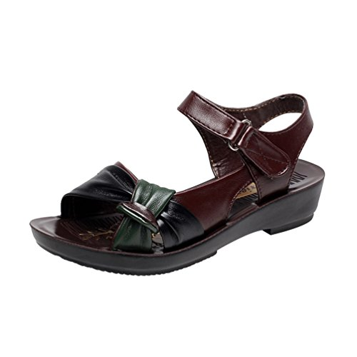 YoungSoul Women's Open Toe Bow Front Sandals Comfortable Summer Flat Shoes Brown