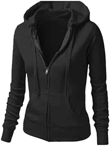 ba385f63f1 Jofemuho Women Plain Jacket Outerwear Zip up Casual Active Hoodies  Sweatshirt