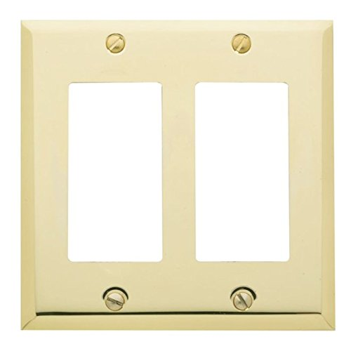 """Baldwin Estate 4741.030.CD Square Beveled Edge Double GFCI Wall Plate in Polished Brass, 4.5"""" x 4.5"""""""