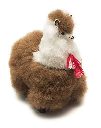 9 Inch. Alpaca Fur Toy. Brown and White. Handmade on Genuine Baby Alpaca Wool. Stuffed Animals (9 inch).