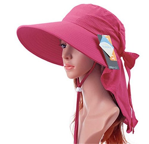 - AUCH Adjustable Quick-drying Outdoor UV Spf 50+ Large Brim Visor/Boonie/Sand Beach Sun Hat with Net Protection for Women w/ Horsetails(Hot Pink)