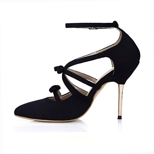 DolphinGirl Gladiator Pumps Black Pointed-Toe High Thin Heeled Sandals Ankle Wrap Stilettos Prime Black 6efCp
