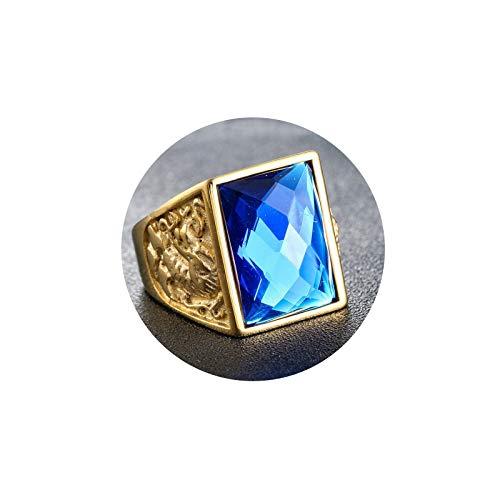 Aooaz Rings Stainless Steel Men Dragon Phoenix Retro Rings for Men Gold Blue Size 11