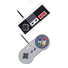 2-Pack Set USB Operated Plug Play NES + SNES Controllers Retro Gaming