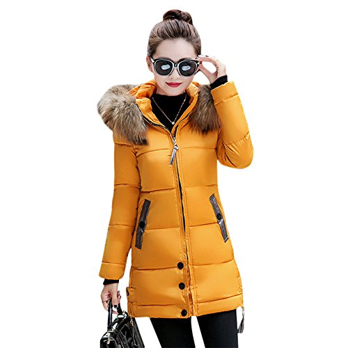 Rela Bota Women's Winter Warm Down Coat Faux Fur Hooded Parka Puffer Jacket Long Overcoat Medium Yellow (Fur Parka Hooded)