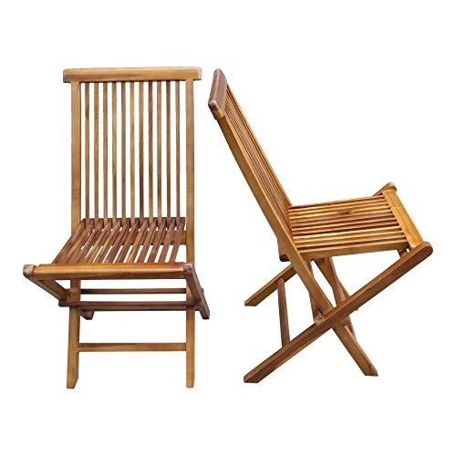ALATEAK 2 Piece Wood Indoor Outdoor Patio Garden Yard Folding Seat Chair Set ()