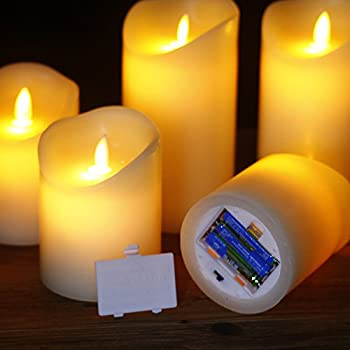 """Comenzar Flameless Candles,led Candles Realistic Moving Set Of 5(h4 4"""" 4"""" 6"""" 6"""" Xd3.25) Flickering Candles With Remote Timer(batteries Not Included) 8"""