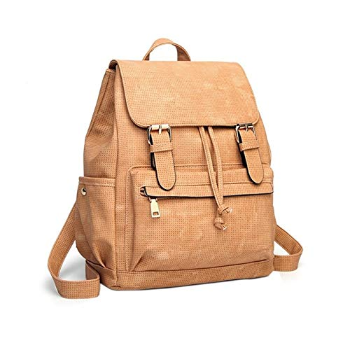 Centenarios Solid color Dacron Harder greenical Type Square Korean College Style Women's Backpack (color   Khaki)