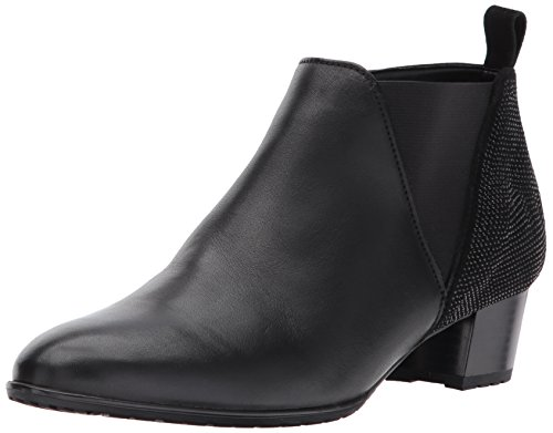 ara Women's Patty Ankle Boot, Black Leather/Suede, 9.5 M US ()