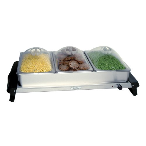 Broil King NBS-3SP Professional Stainless-Steel Triple Buffet Server with Plastic Lids