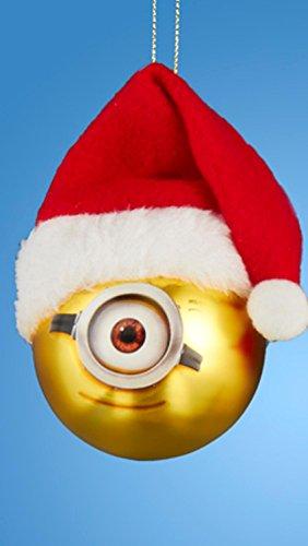 [Despicable Me Minion Stuart with Santa Hat Gold Glass Christmas Ball Ornament 2.5