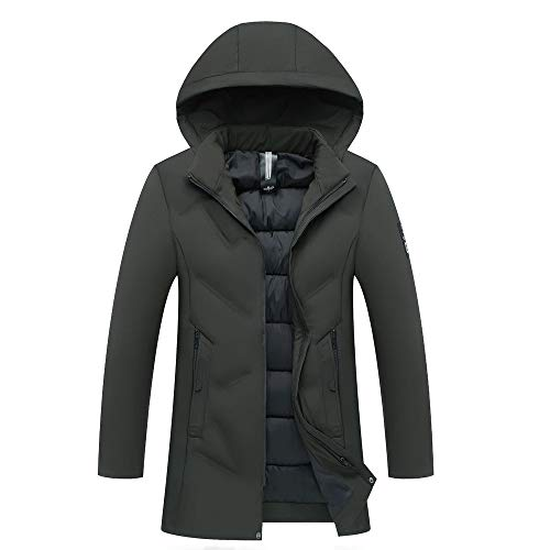 Mysky Mens Classic Solid Thickening Warm Cotton Coat Men Leisure Hooded Zipper Jacket Outwear Green