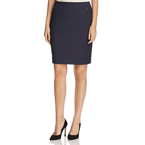 Elie Tahari Wool Skirt - Elie Tahari Womens Tulia Zipper Pockets Mini Pencil Skirt Navy 4
