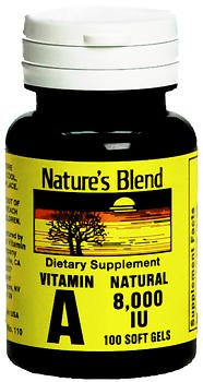 Nature's Blend Vitamin A 8000 IU Softgels - 100 ct, Pack of 5