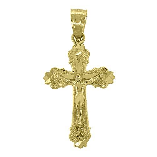 14kt Gold Unisex Diamond Cut Cross Crucifix Religious Charm Pendant