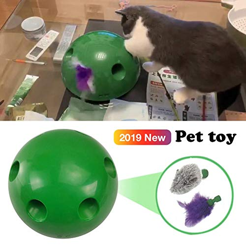 Cat Interactive Motion Cat Toy, Round Electronic Smart Random Moving Feather & Hamster Teaser, Mouse Sound Optional Auto Shut Off, Great Cat Toys- Popandplay- Boo Pop- Cat Toys Funny 3