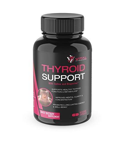Thyroid Support Premium Formula w/Iodine & BioPerine® – Boosts Metabolism, Focus, Clarity, Energy – Vitamin B-12, Magnesium, Zinc, Selenium, Copper, Ashwagandha, L-Tyrosine – 60 Veggie Caps