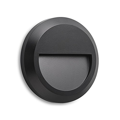 (LightStan LED Outdoor Indoor Step Stair Light - Wall Mount Decoration, Waterproof IP65, Down Light, Black, Round)
