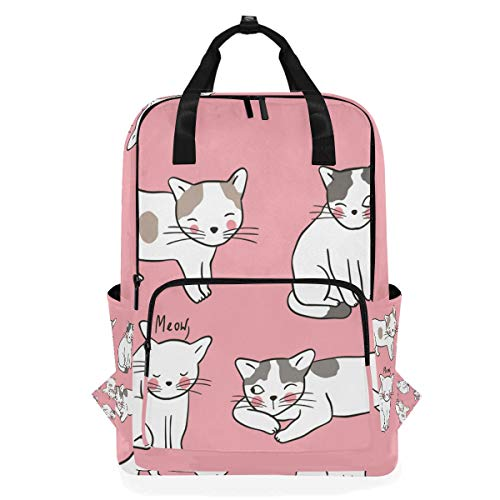 School Backpack Vector Set Character Design Adorable Cats Large Capacity Bag for Travel Outdoor Sports Boys Girls -