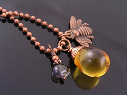 Czech Honey Drop, Iolite and Bee Charm Necklace ()