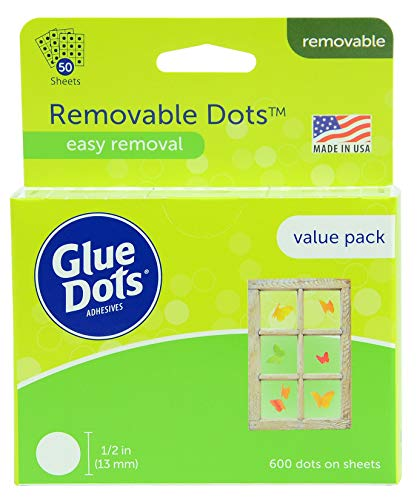 Glue Dots Removable Dots Value Pack Sheets, 1/2 Inch, Clear, Pack of 600 -