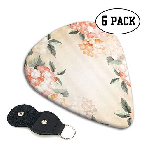 Guitar Picks 6 pcs,Blooming Hydrangea Flowers Leaves Bouquet Vintage Style Spring Nature Print