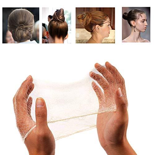50PCS Mallas para el cabello Cabello invisible con borde elastico Redes de pelo para la danza del ballet Rubia