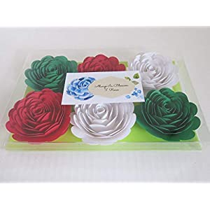 """Red, White & Green Mexican Color Roses, 3"""" Paper Flowers, Set of 6 Wedding Flowers, Bridal Shower Decor, Italy/Italian Theme Tea Party Decorations, Always In Blossom 2"""
