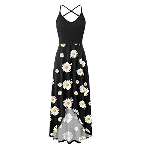 Women\'s Dress, Fashionable Casual v-Neck Sleeveless Halter Strapless Sexy Printed Dress(Black-13,XL)