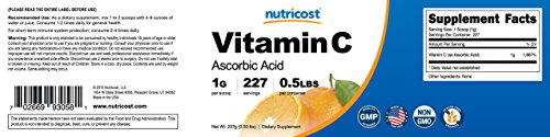 Nutricost Pure Ascorbic Acid Powder (Vitamin C); 1000mg Per Serving Highest Quality Immune System Support