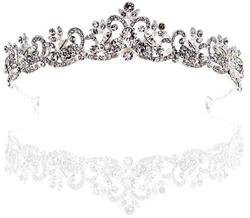 Dbella Bridal Tiara Rhinestones Crystal Wedding Headband Crown -