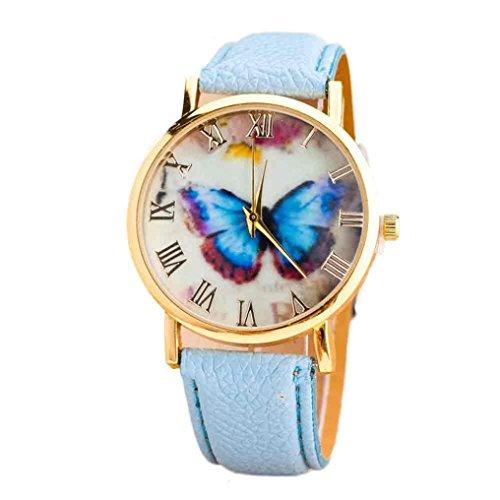 Tenworld Women Girl's Gift Butterfly Faux Leather Analog Quartz Wrist Watch (Sky Blue)