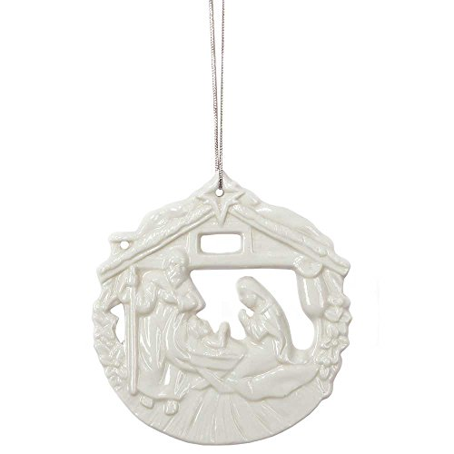 Paper White Cut-out Nativity Scene 4 inch Porcelain Christmas Ornament