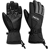 FREETOO Men Ski Gloves, Waterproof, Warm and Windproof, Light and Resistant to Friction for Skiing, Mountaineering and Mountain Activities (M)