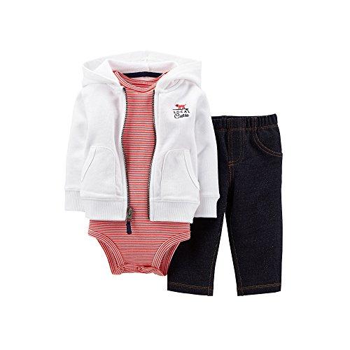 Carters Super Comfy 3 Piece (Carters Boys 3 Piece Hoodie, Bodysuit and Faux Denim Pant Set, Red/White/Blue, 3 Months)