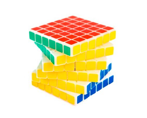 Shengshou Professional 6x6x6 6.7cm 6 Colors Glossy Sticker Puzzle Speed Magic Cube - White