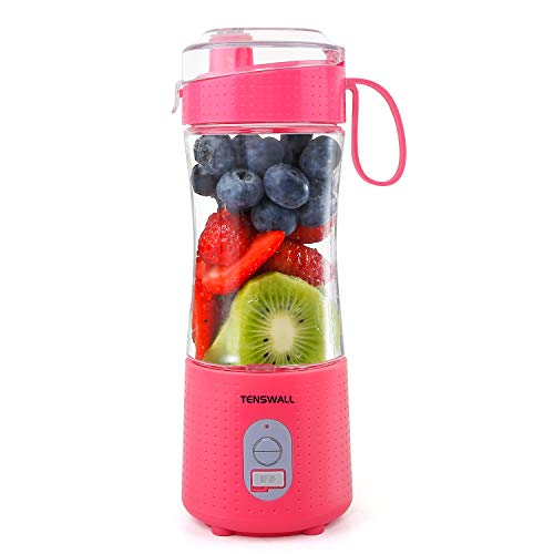 Portable Blender, Smoothie Blenders, Personal Size Blender USB Rechargeable Smoothies and Shakes Juicer Cup, 4000mAh Battery Strong Power Pink
