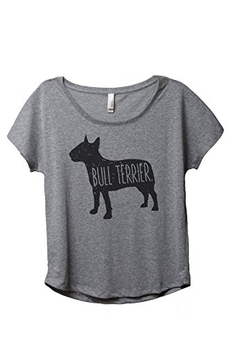 Thread Tank Bull Terrier Dog Silhouette Women's Slouchy Dolman T-Shirt Tee Heather Grey Medium
