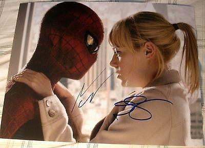 "Andrew Garfield & Emma Stone Signed Autograph ""Amazing Spider-Man"" Hug"