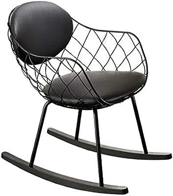 N/A - Silla mecedora de jardín, estructura de acero resistente, diseño cómodo y robusto, tamaño 53 x 73 x 80 cm, negro: Amazon.es: Deportes y aire libre