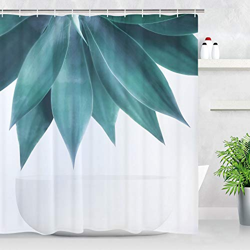 - BLEUM CADE Vintage Shower Curtain Water Color Print Bathroom Curtain Abstract Palm Leaves Bathroom Decor Set Bathroom Accessory with Hooks